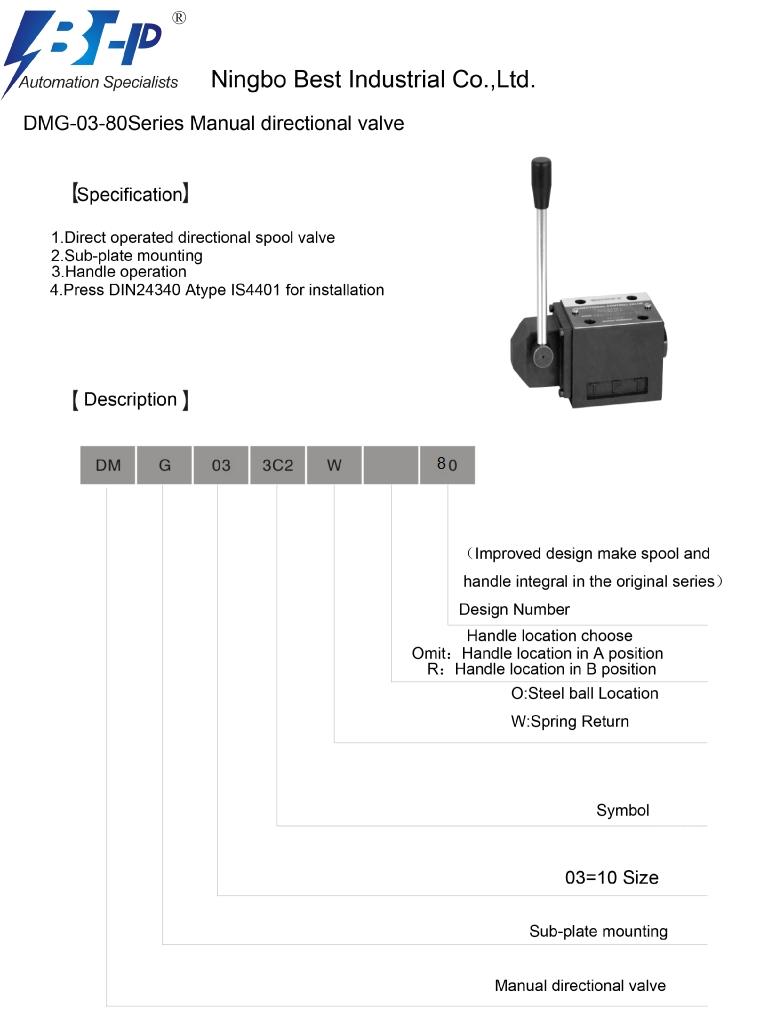 DMG-03-80 manual hydraulic control valves