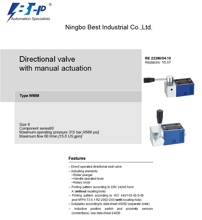 WMM6-80 manually operated directional control valve