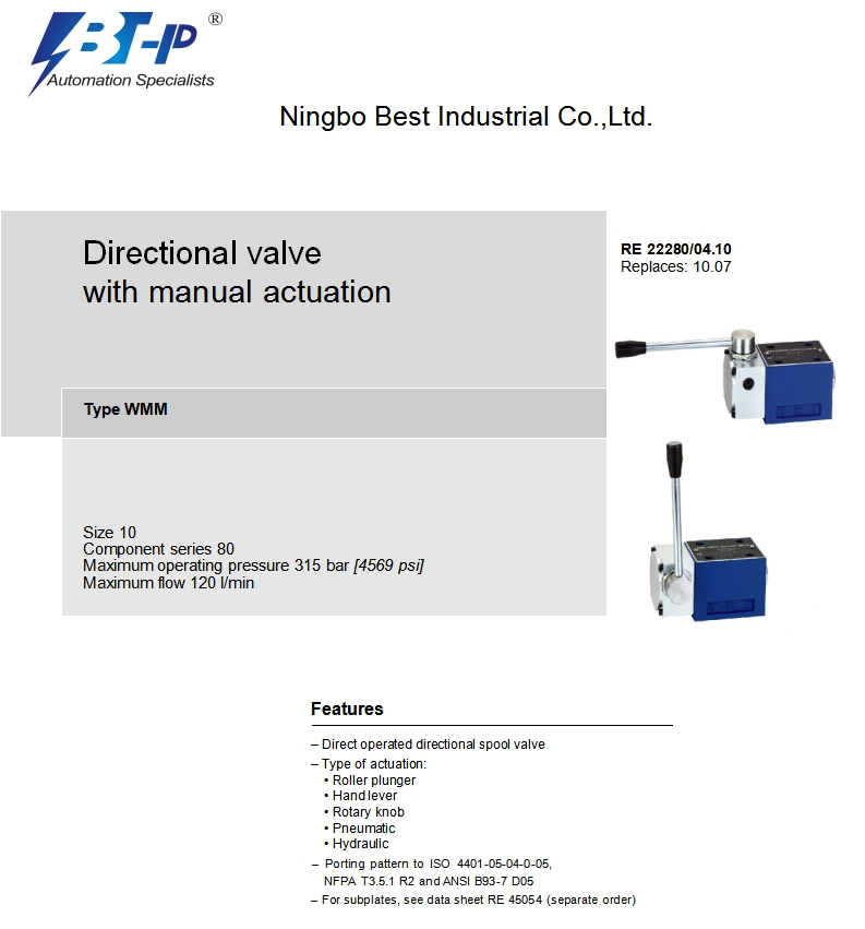 WMM10-80 manual hydraulic directional control valves