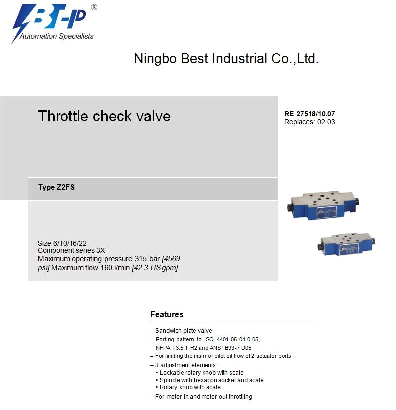 Z2FS hydraulic flow valve,hydraulic needle flow control valve