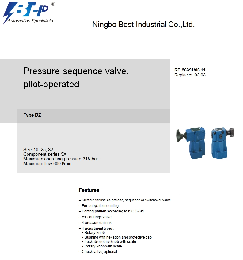 DZ-L5X hydraulic sequencing valve,sequence valve in hydraulic system