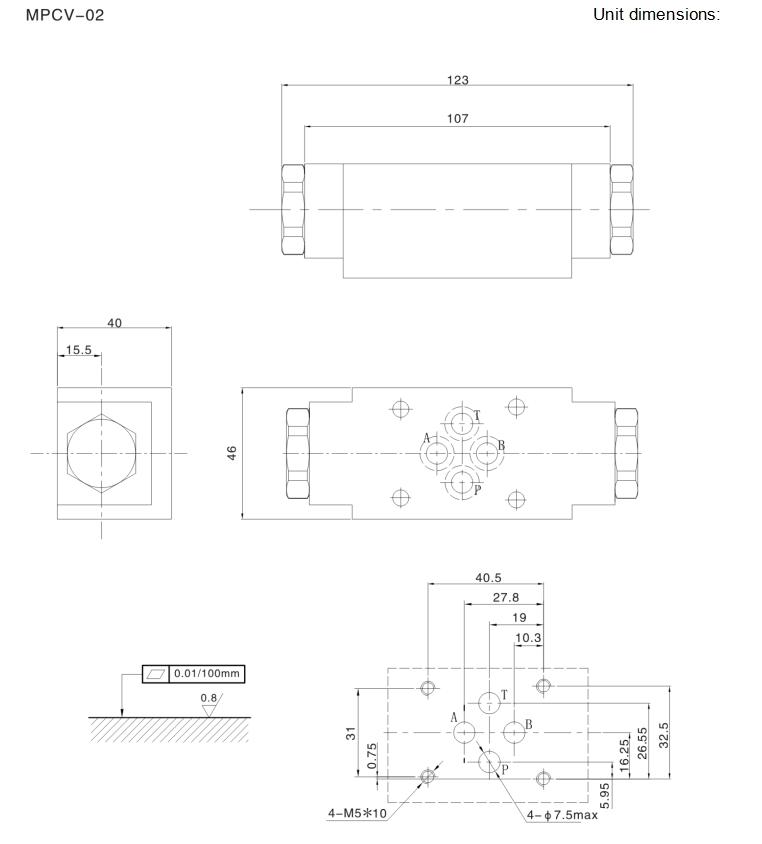 MPCV hydraulic inline check valve,inline hydraulic check valve