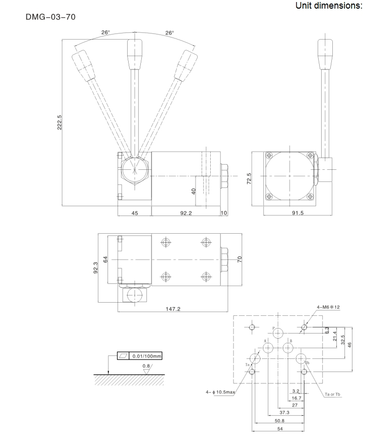 DMG-03-70 hydraulic hand lever valve,hydraulic hand valve