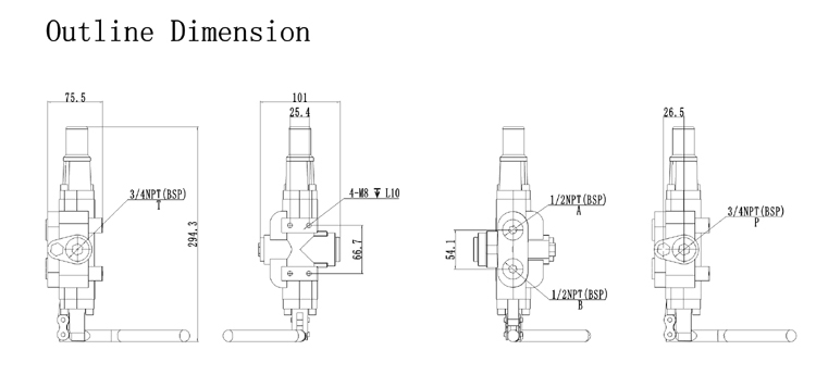 Log splitter hydraulic valve,hydraulic log splitter valve outline dimension